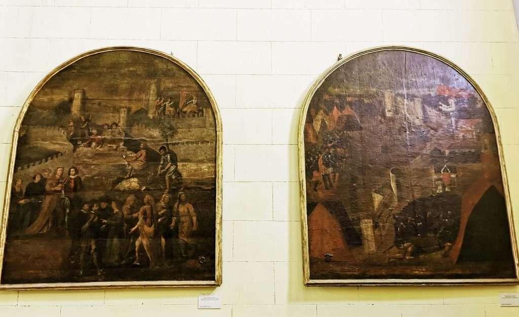 Sicilian vespers: painted boards in the Sanctuay of Montalto